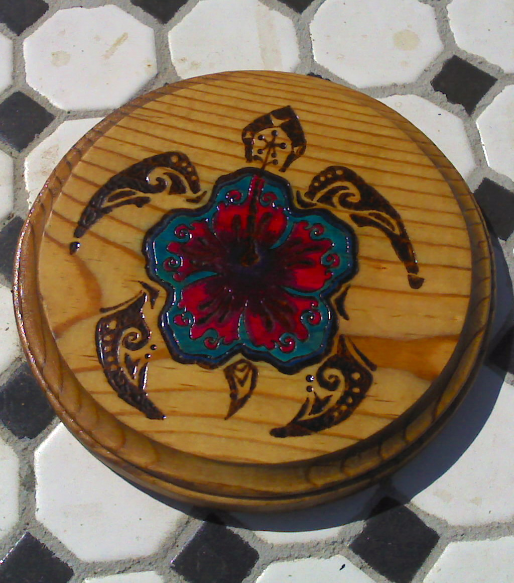 Tribal Hibiscus Turtles $30