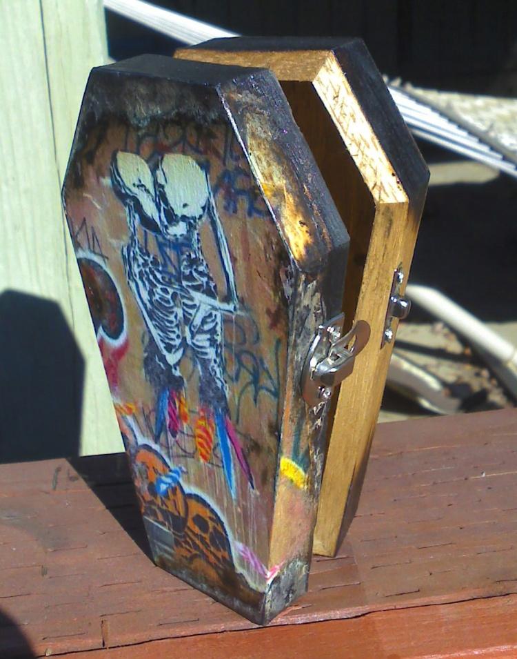 Skeleton Embrace Street Art Coffin