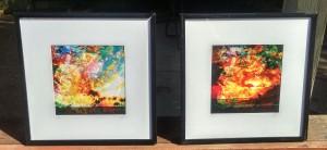 Framed 8x8s set Hawaiian Hibiscus Sunrise and Sunset $55