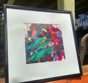 Framed 8x8 Crayon Abstract $50