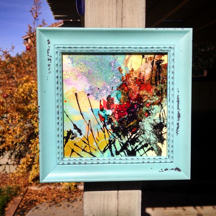 """Bouquet of Sorry"" 6x6 framed $50"